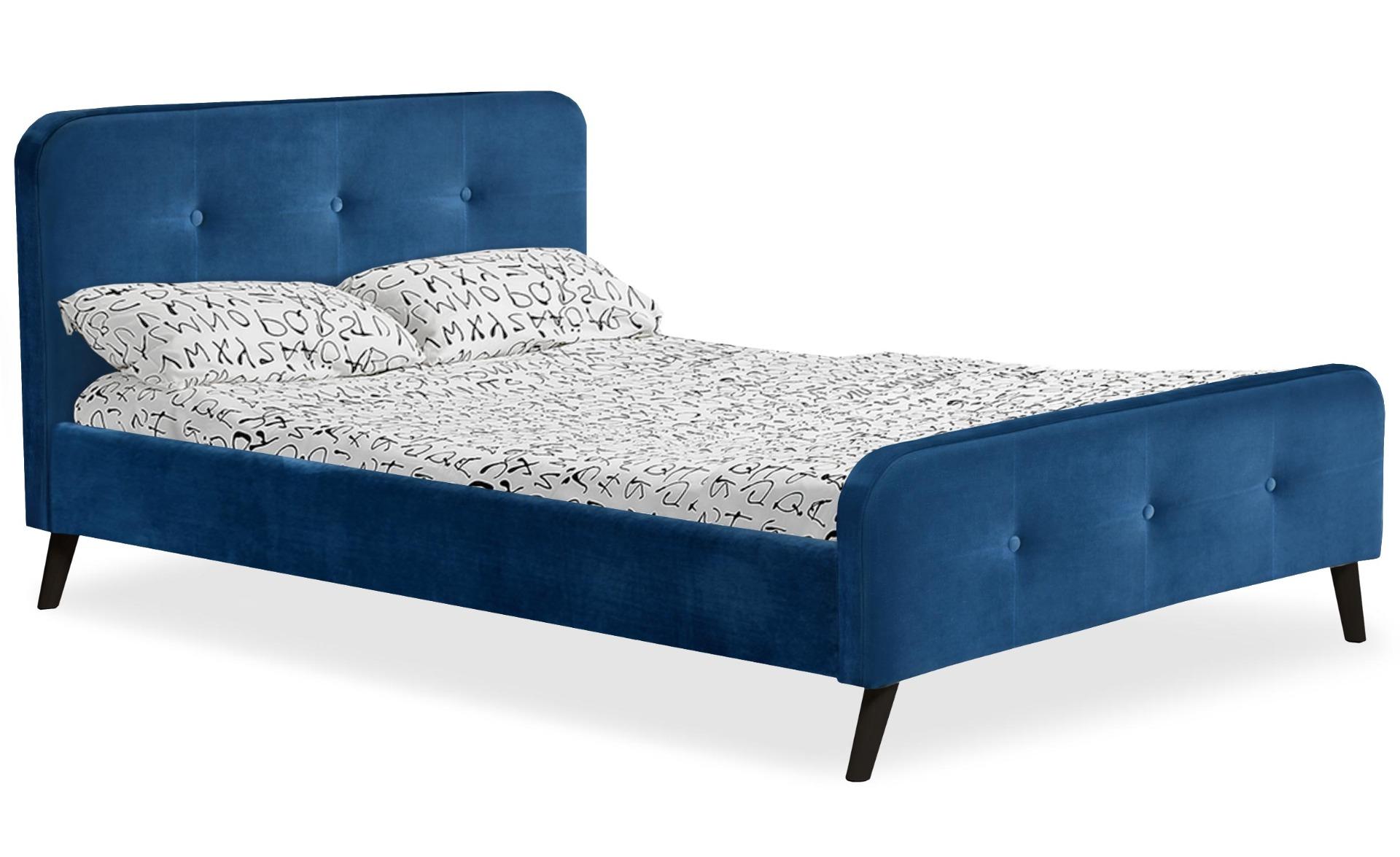 Lit scandinave avec tête de lit et sommier 140 x 190cm Delano Velours Bleu