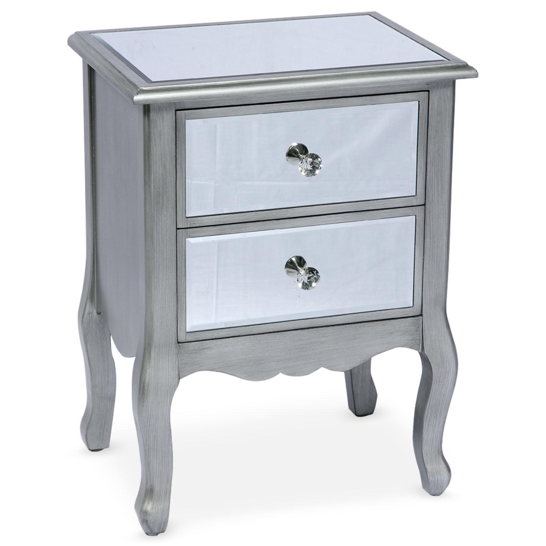 Table de chevet 2 tiroirs Divine Miroir Argent