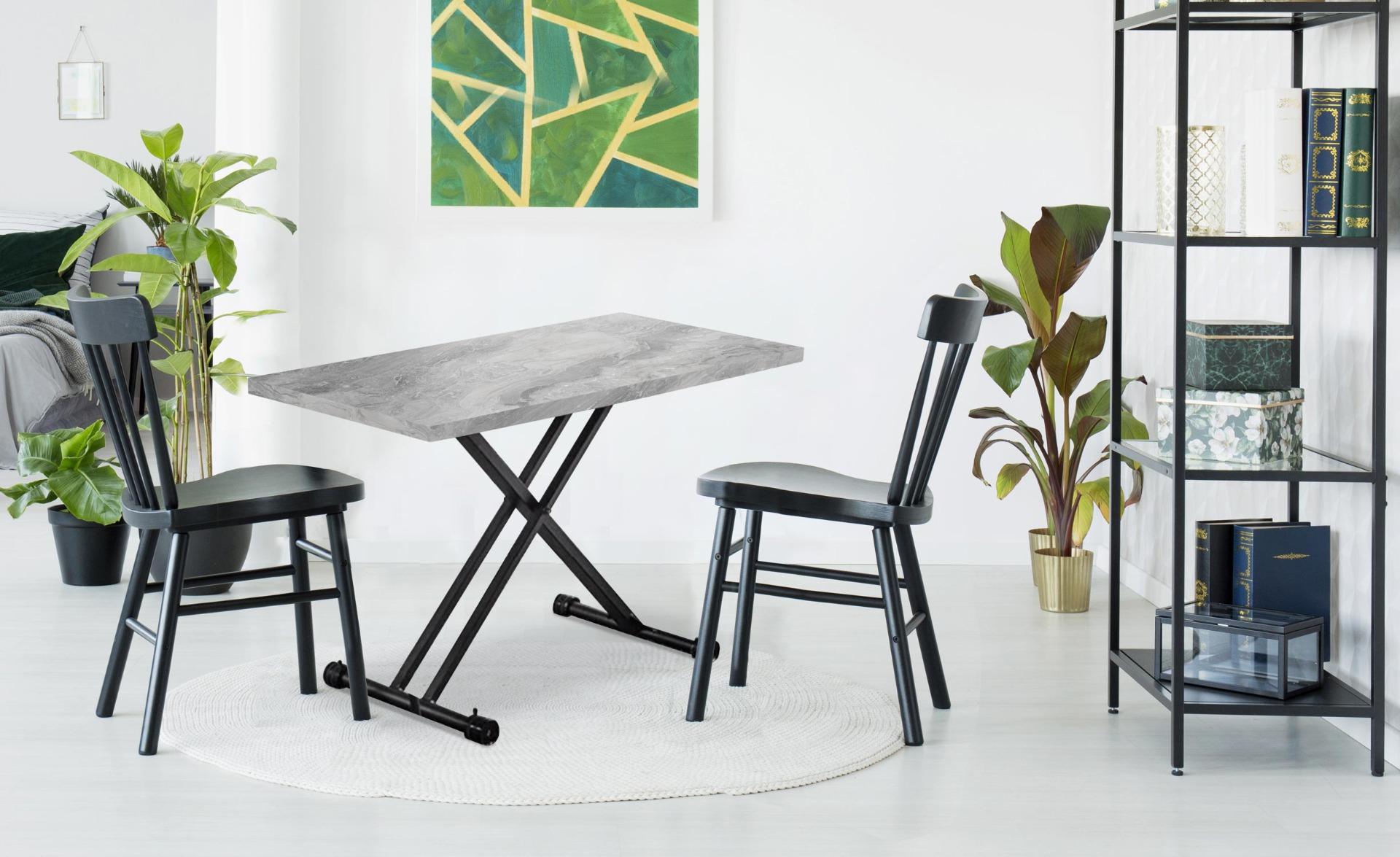 Tavolino modulabile Duke effetto marmo grigio