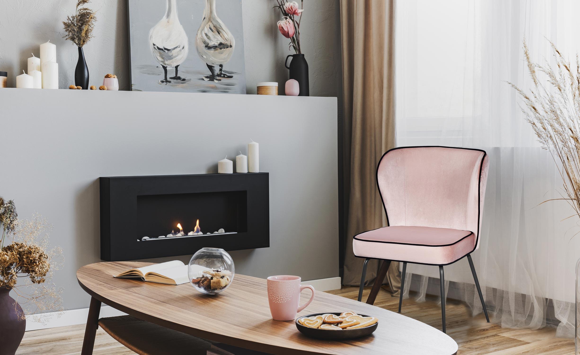 Set di 2 sedie Elsa Velluto Rosa