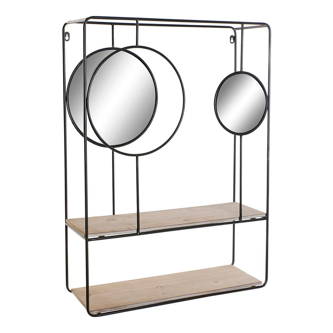 Étagère + 2 miroirs Natacha 60x80cm Bois Naturel et Métal Noir