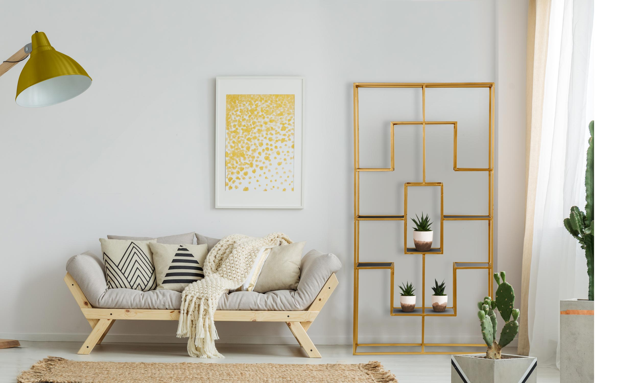 Mensola Barad in vetro e metallo dorato