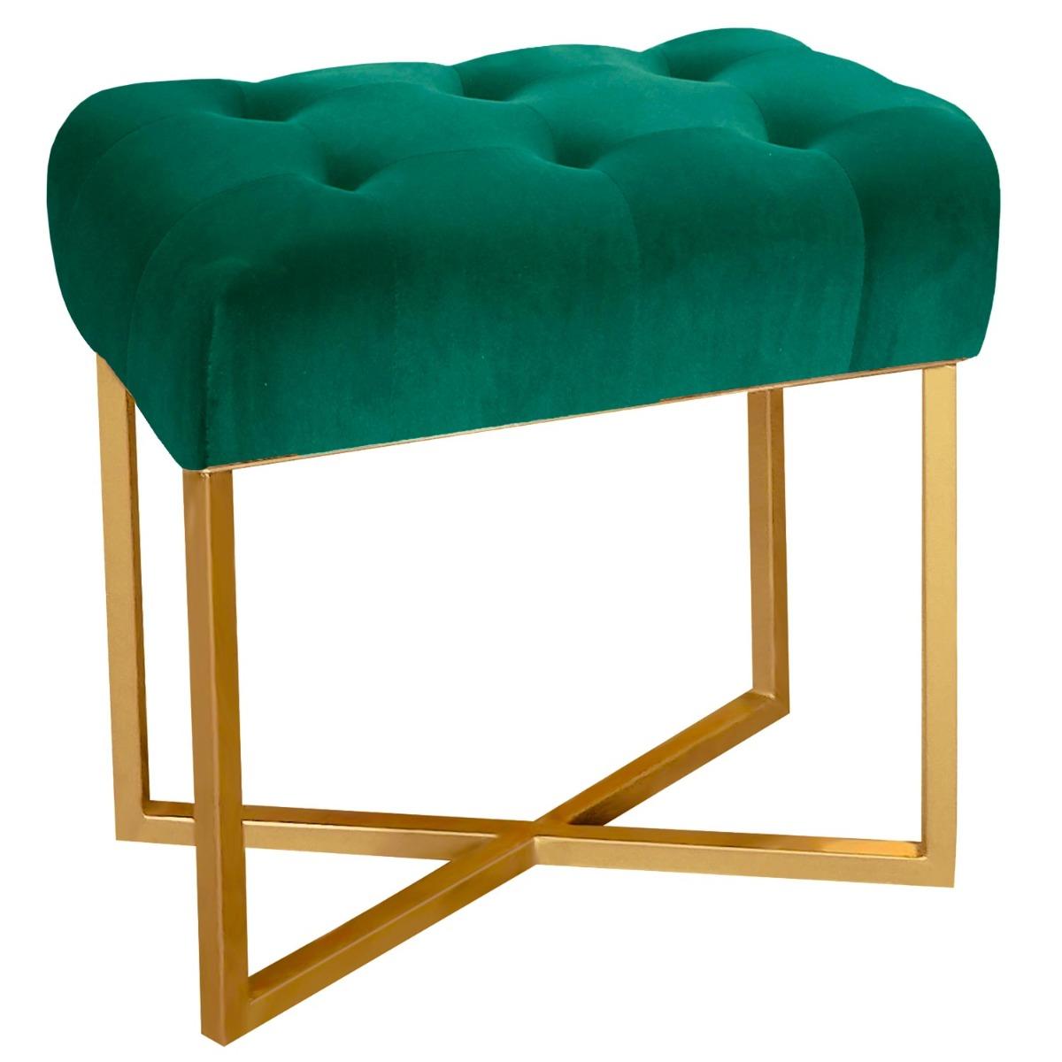 Tabouret pouf rectangle Fauve Velours Vert pied Or