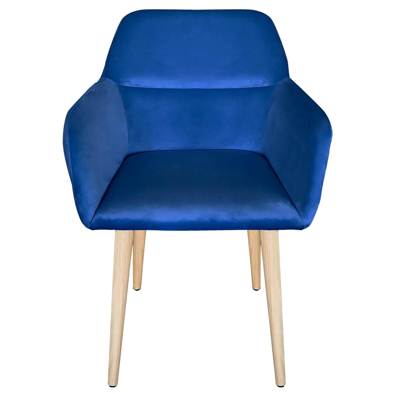Sedia / poltrona scandinava Fraydo in velluto blu