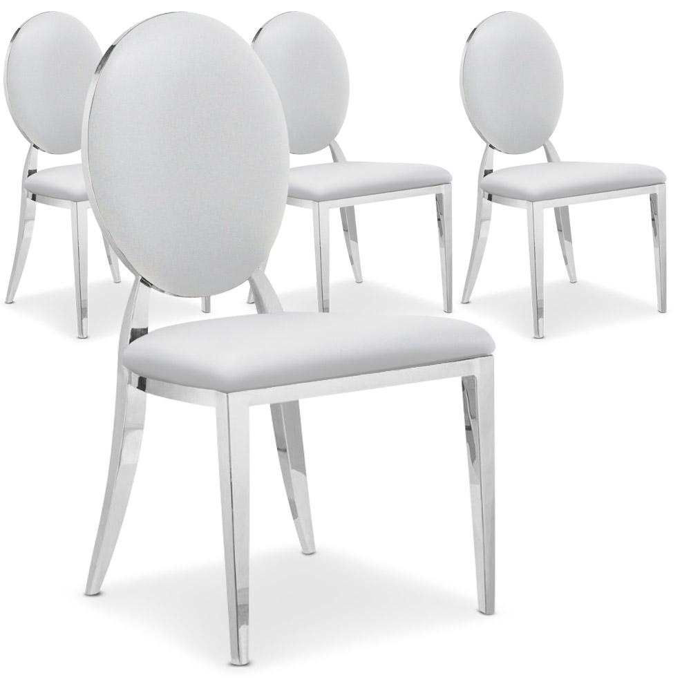 La chaise Sofia blanche, avec son dossier oval rembourré et ses pieds en métal brillant