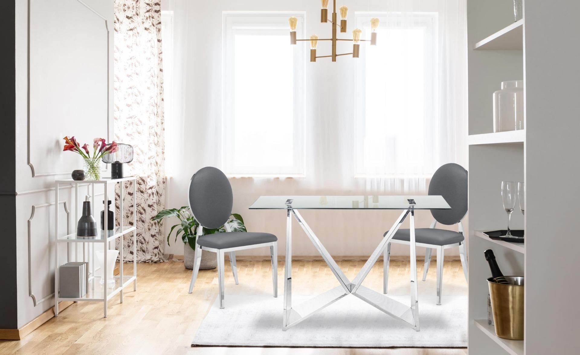 Set di 2 sedie a medaglione Sofia in similpelle grigie
