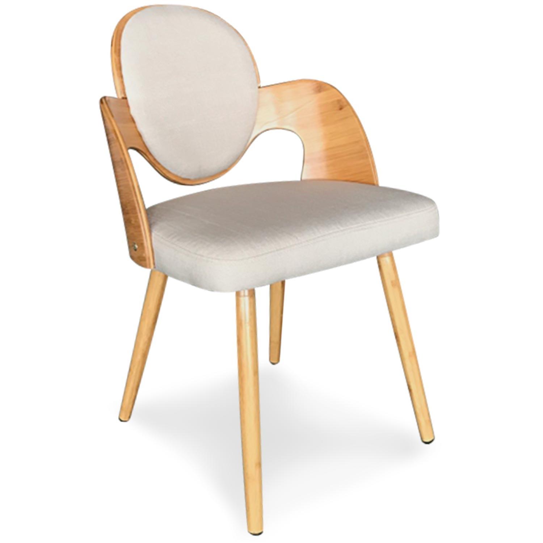 Set di 2 sedie scandinave Galway in legno naturale e tessuto beige