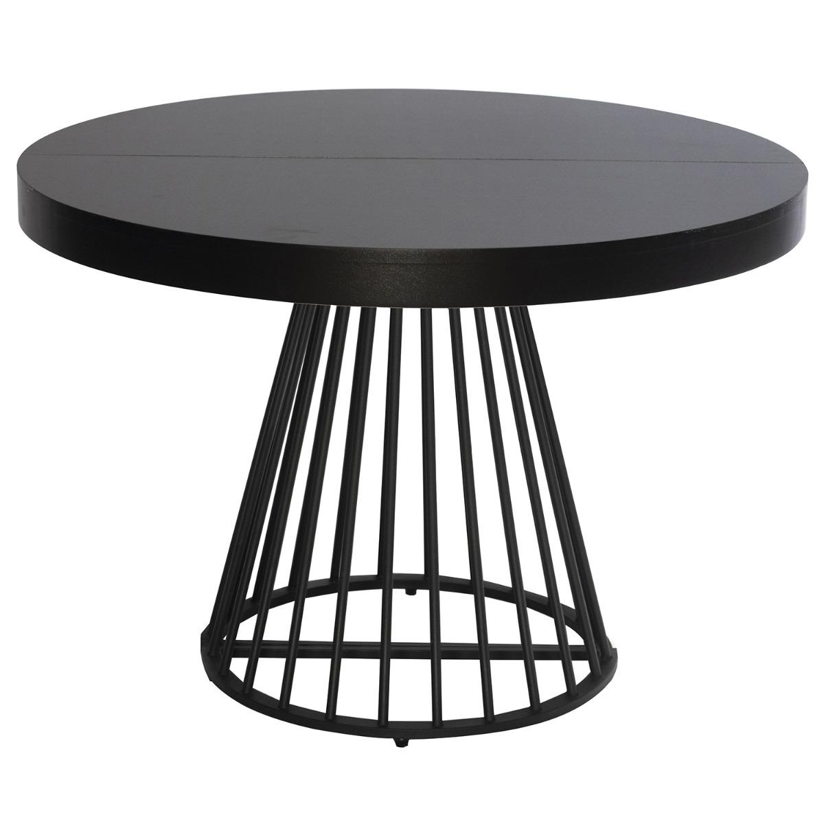 Table ronde extensible Grivery Noir pieds Noir