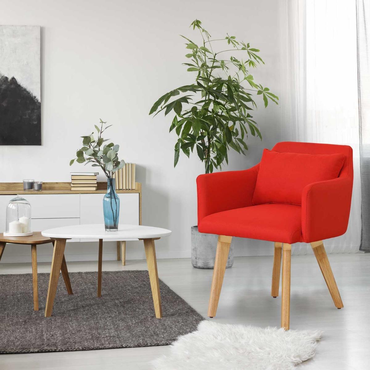 Sedia / poltrona scandinava Gybson in tessuto rosso