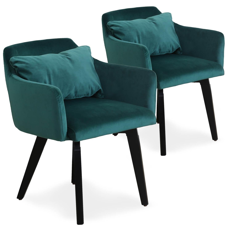 Lot de 2 fauteuils scandinaves Gybson Velours Vert