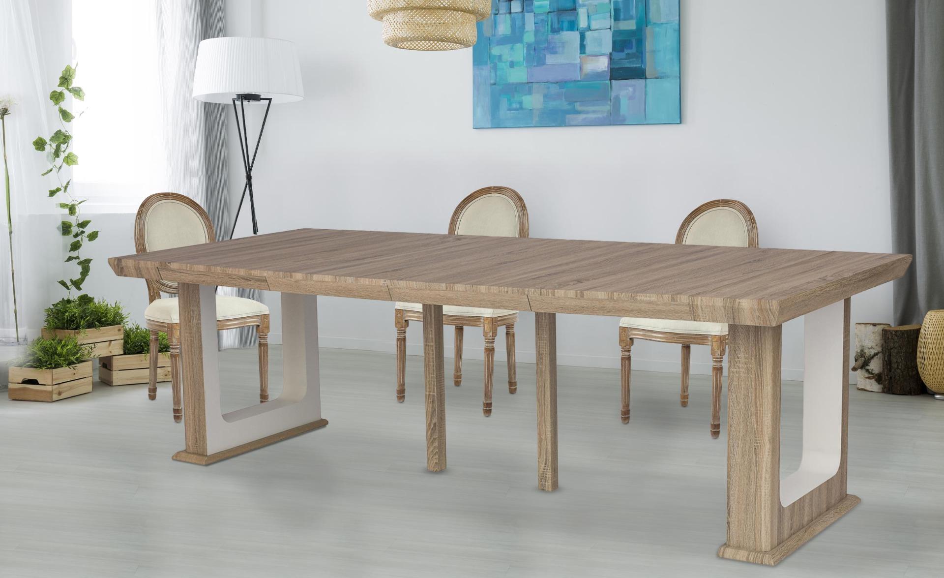 Tavolo consolle allungabile fino a 250 cm HOUSTON in rovere invecchiato
