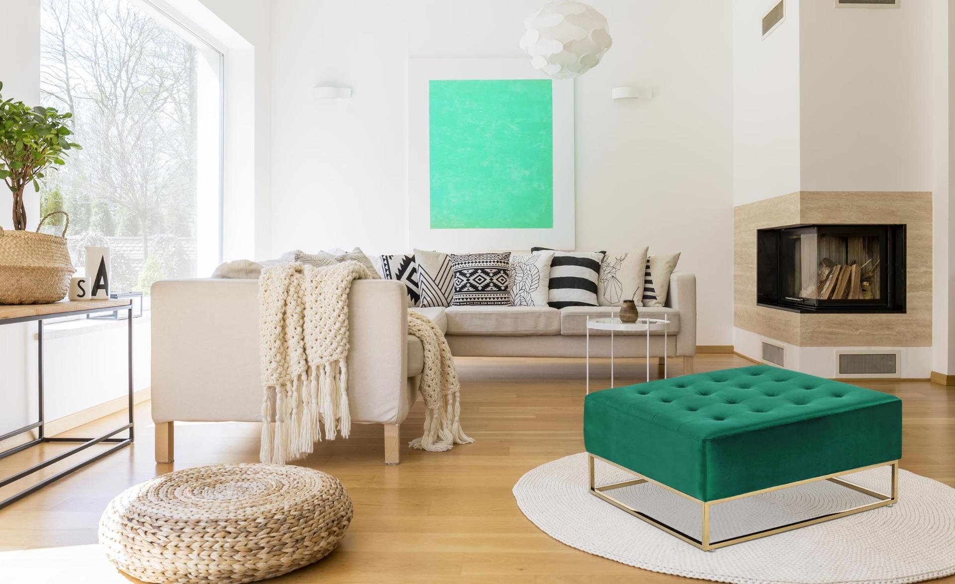 Pouf quadrato Hudson in velluto verde