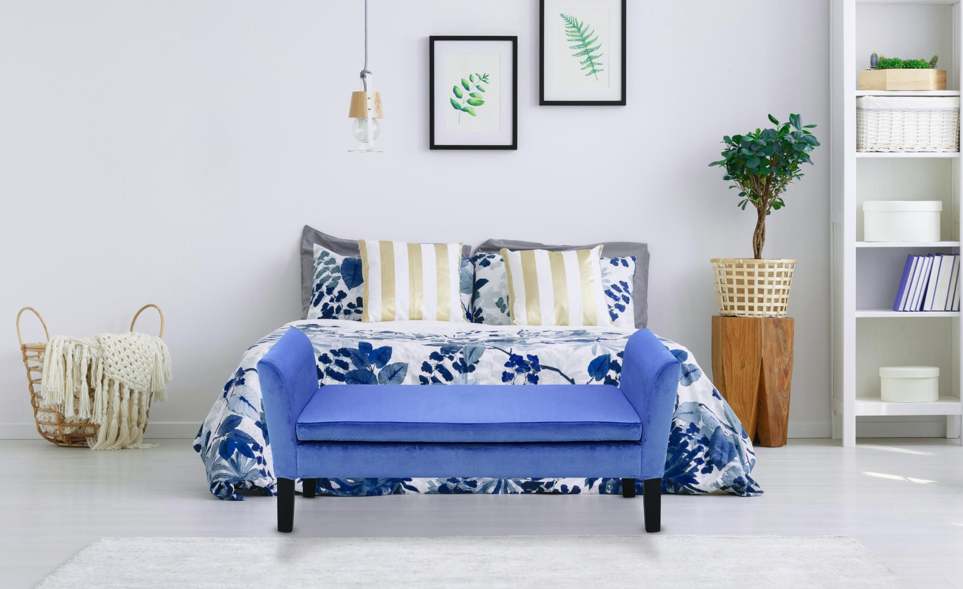 Cassapanca Idor in velluto blu