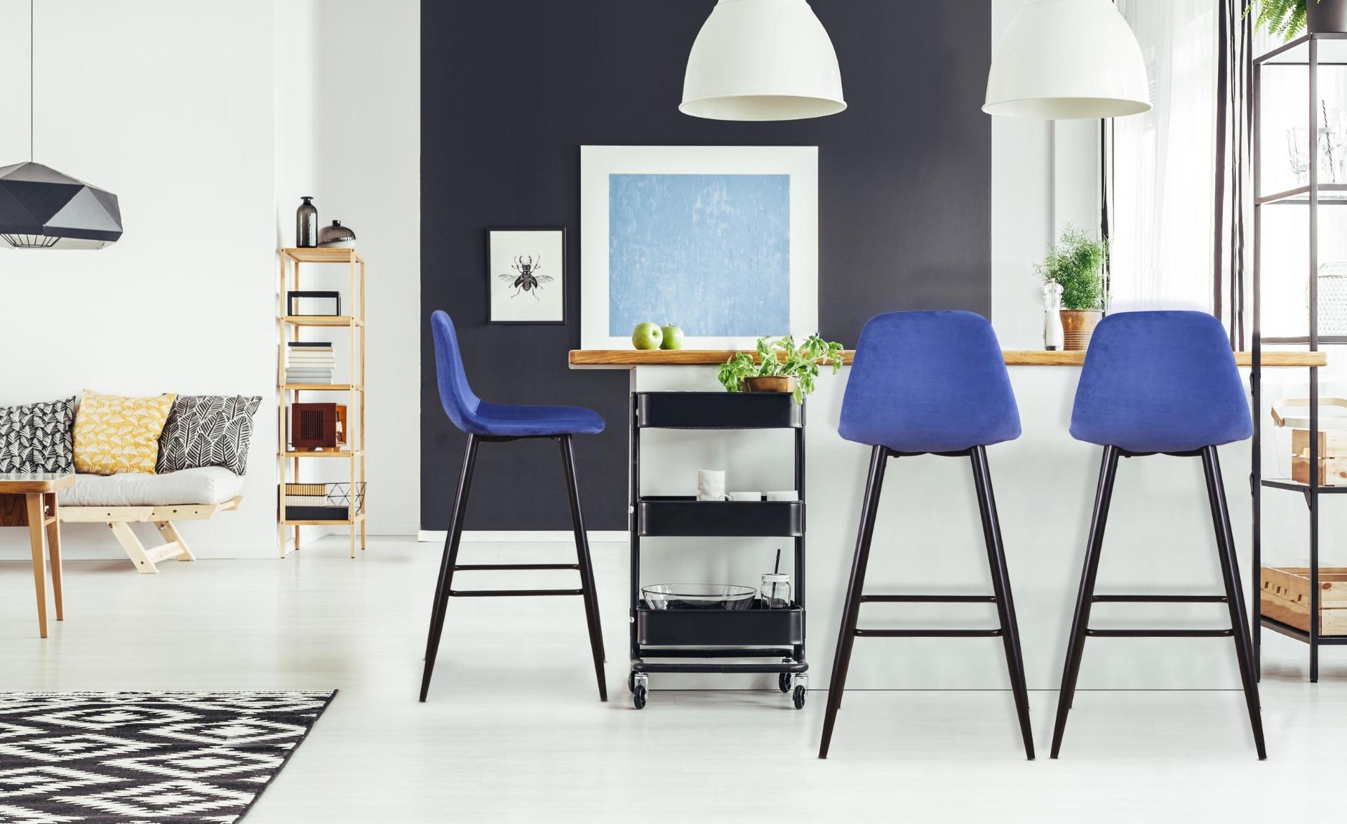 Set di 4 sedie da bar Jody in velluto blu