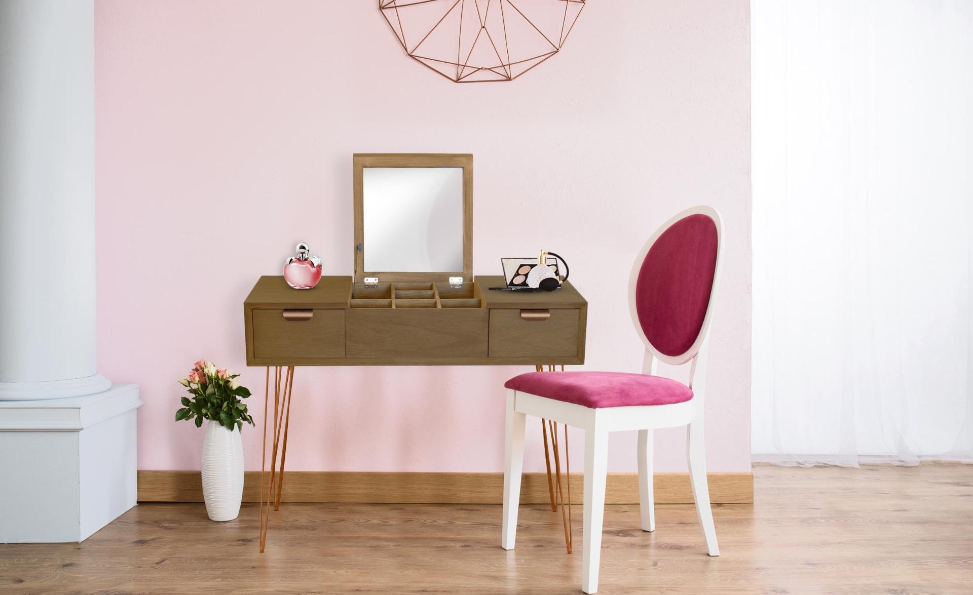 Scrivani-Toeletta Joraz in legno e metallo oro rosa