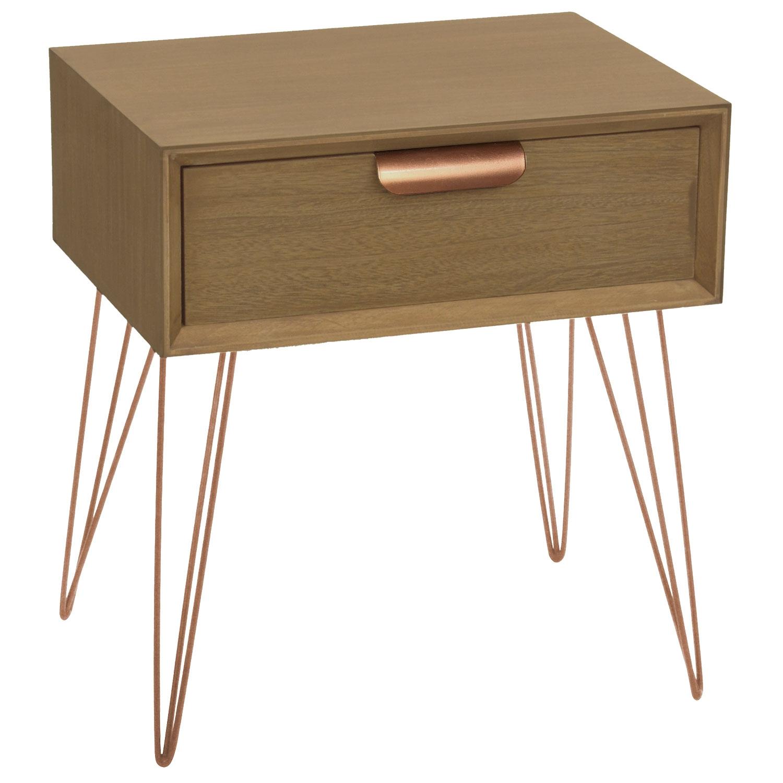 Table de chevet 1 tiroir Joraz Bois et métal coloris or rose