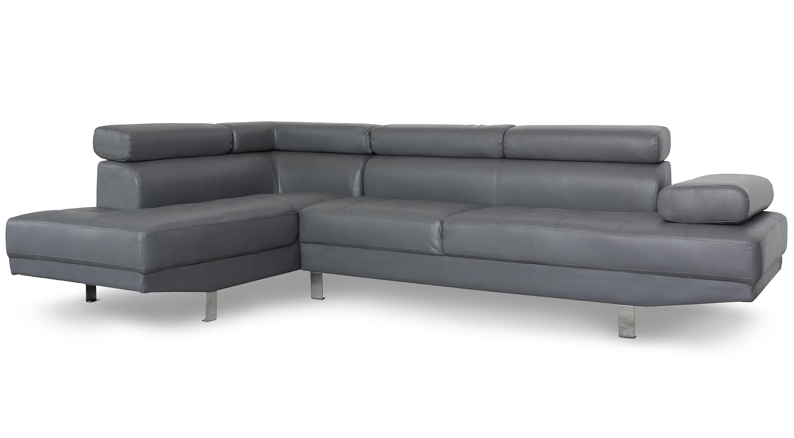 Divano Alfa angolare con poggiatesta sollevabili grigio in similpelle