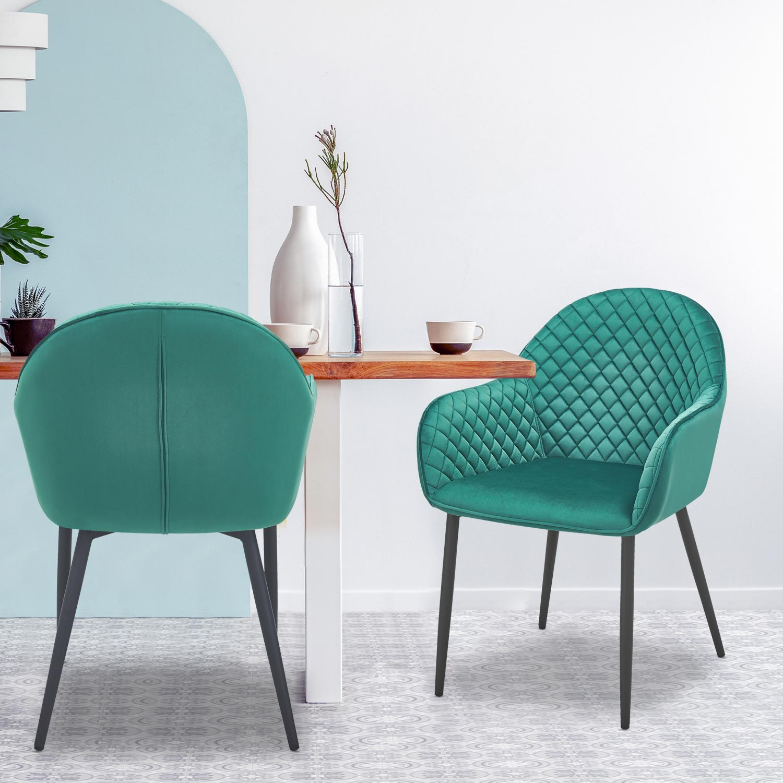 Set di 2 sedie Erika Velluto Verde
