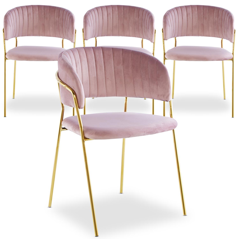 Set di 4 sedie Tabata Velluto Rosa