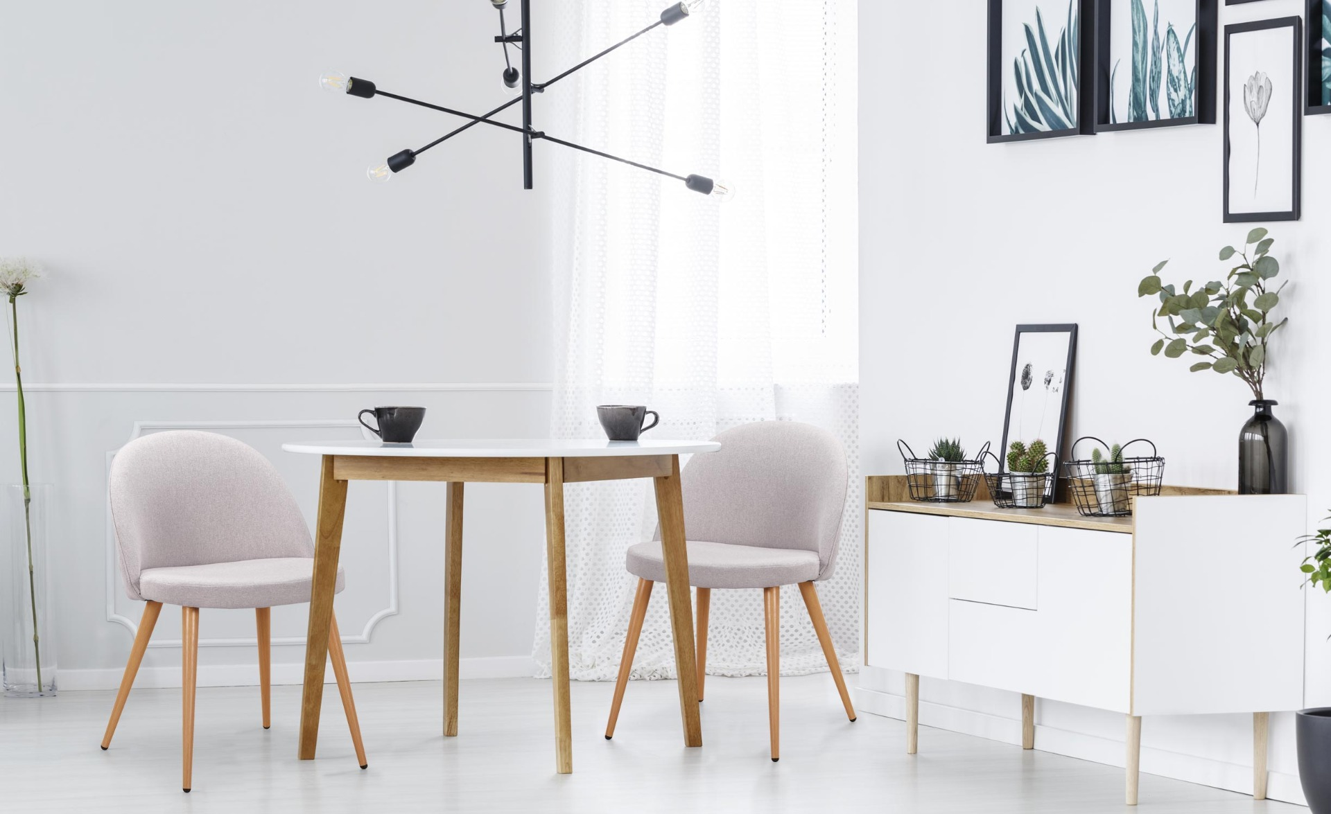 Set di 2 sedie scandinave Maury in tessuto  grigio chiaro