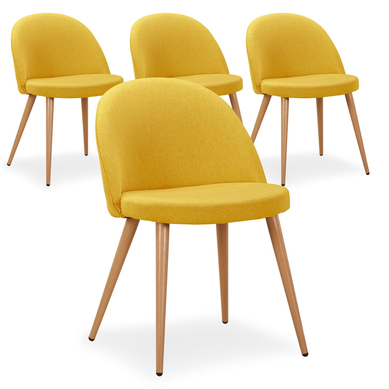 Lot de 4 chaises scandinaves Maury tissu jaune