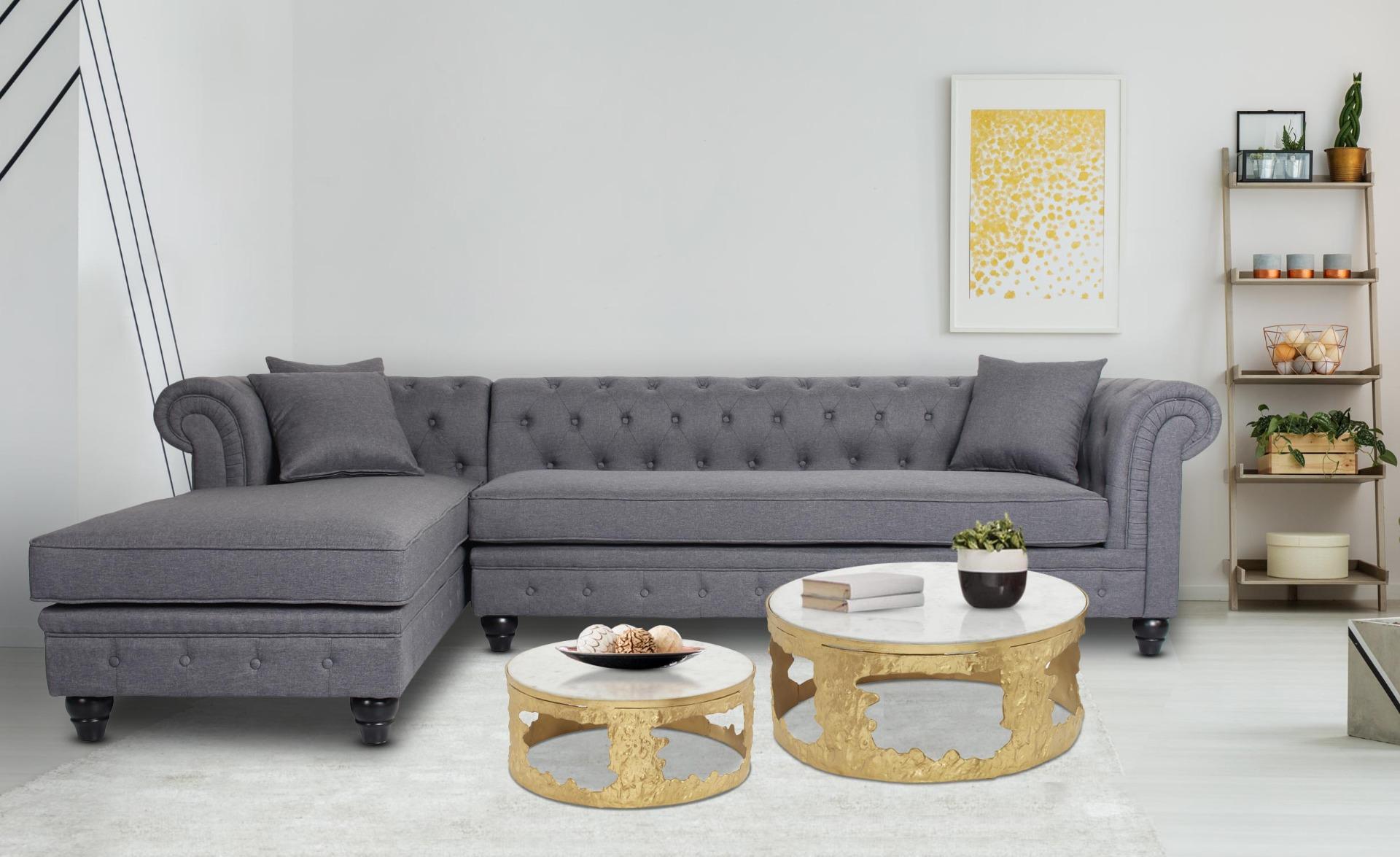 Set di 2 tavolini Melton in marmo e metallo dorato