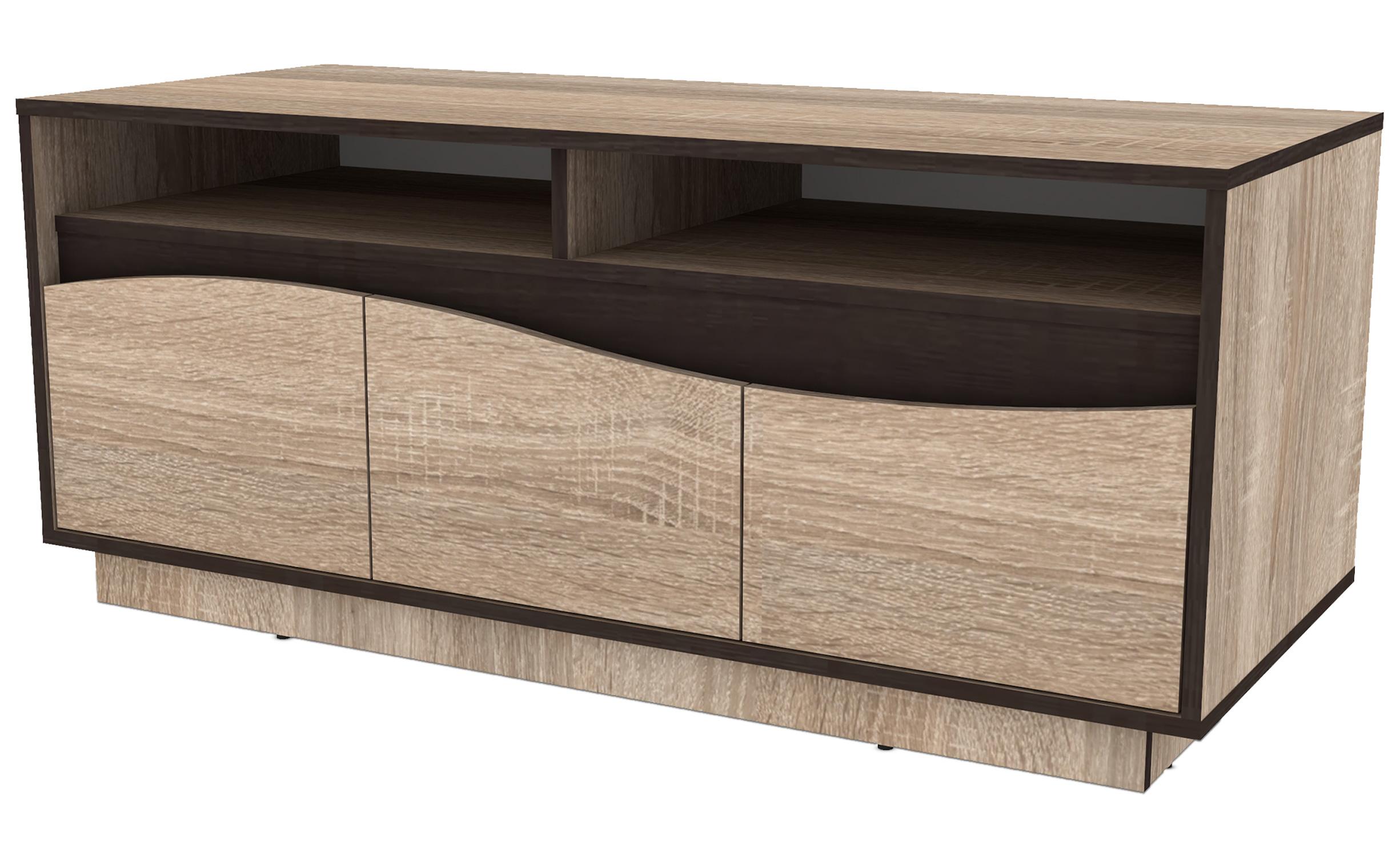 Meuble TV 120cm avec 3 tiroirs Genevaro Chêne clair