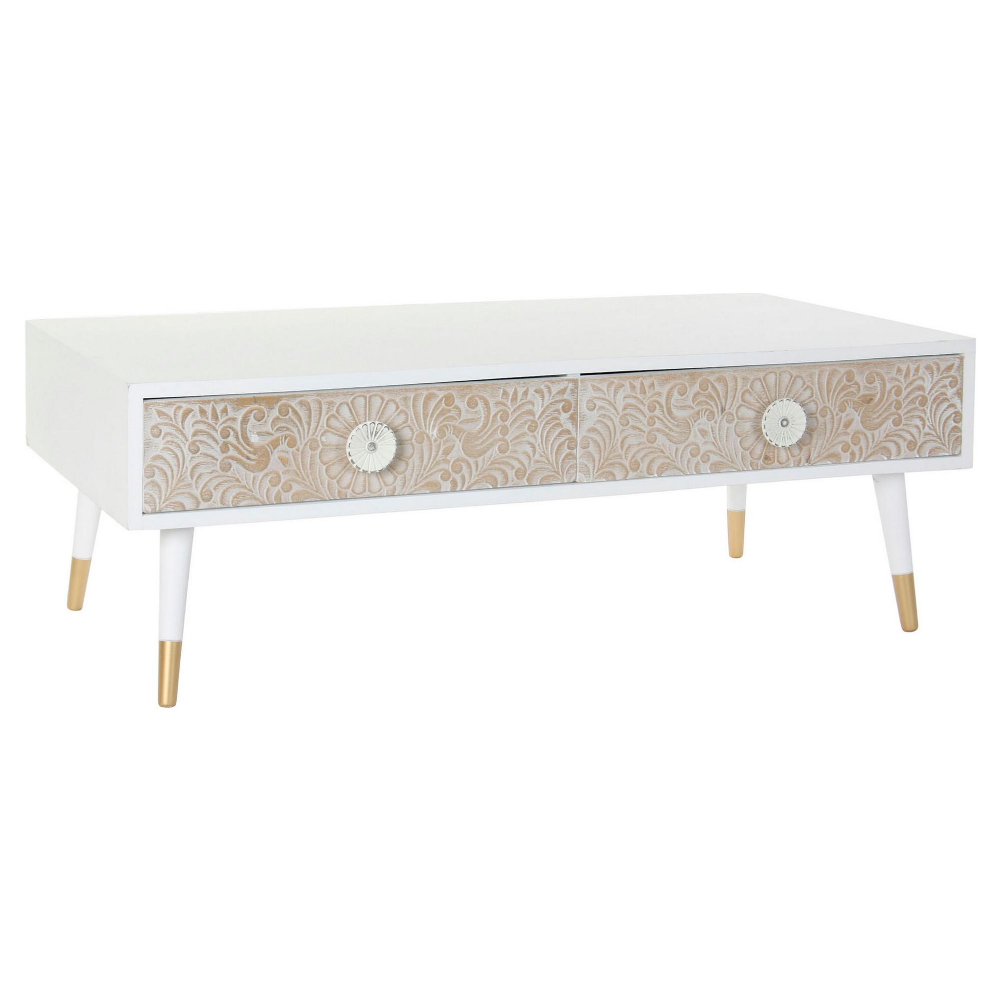 Meuble TV 2 tiroirs scandinave Louange 120cm Bois Massif Blanc et Marron Clair