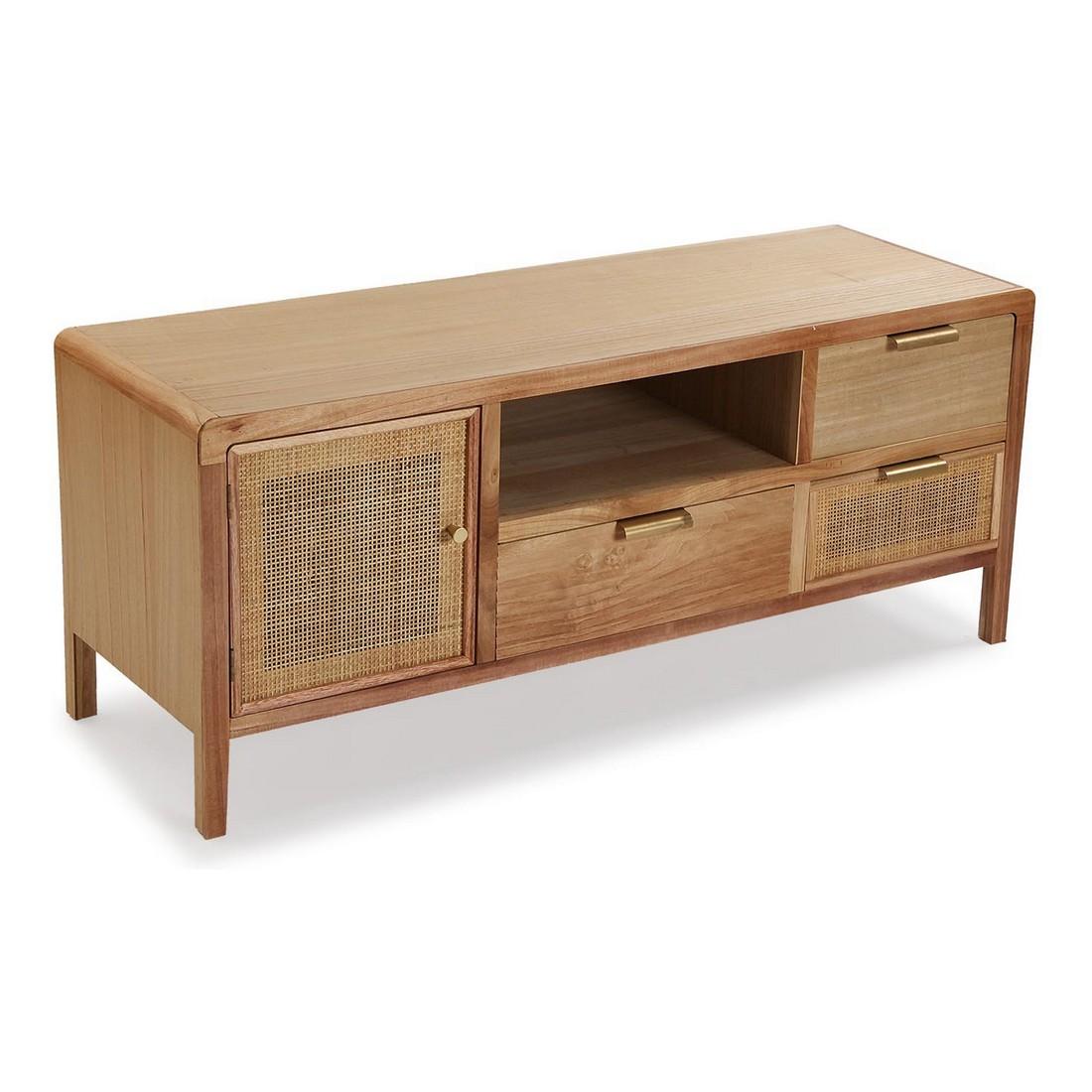 Meubles TV 1 porte 3 tiroirs 1 étagère Liviere 120cm Rotin et Bois Naturel