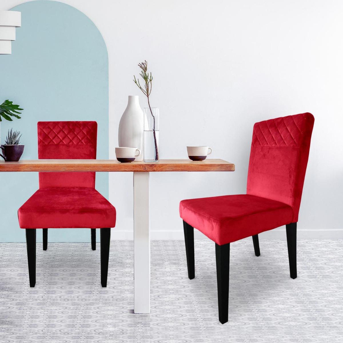 Set di 2 sedie trapuntate Milo in velluto rosso