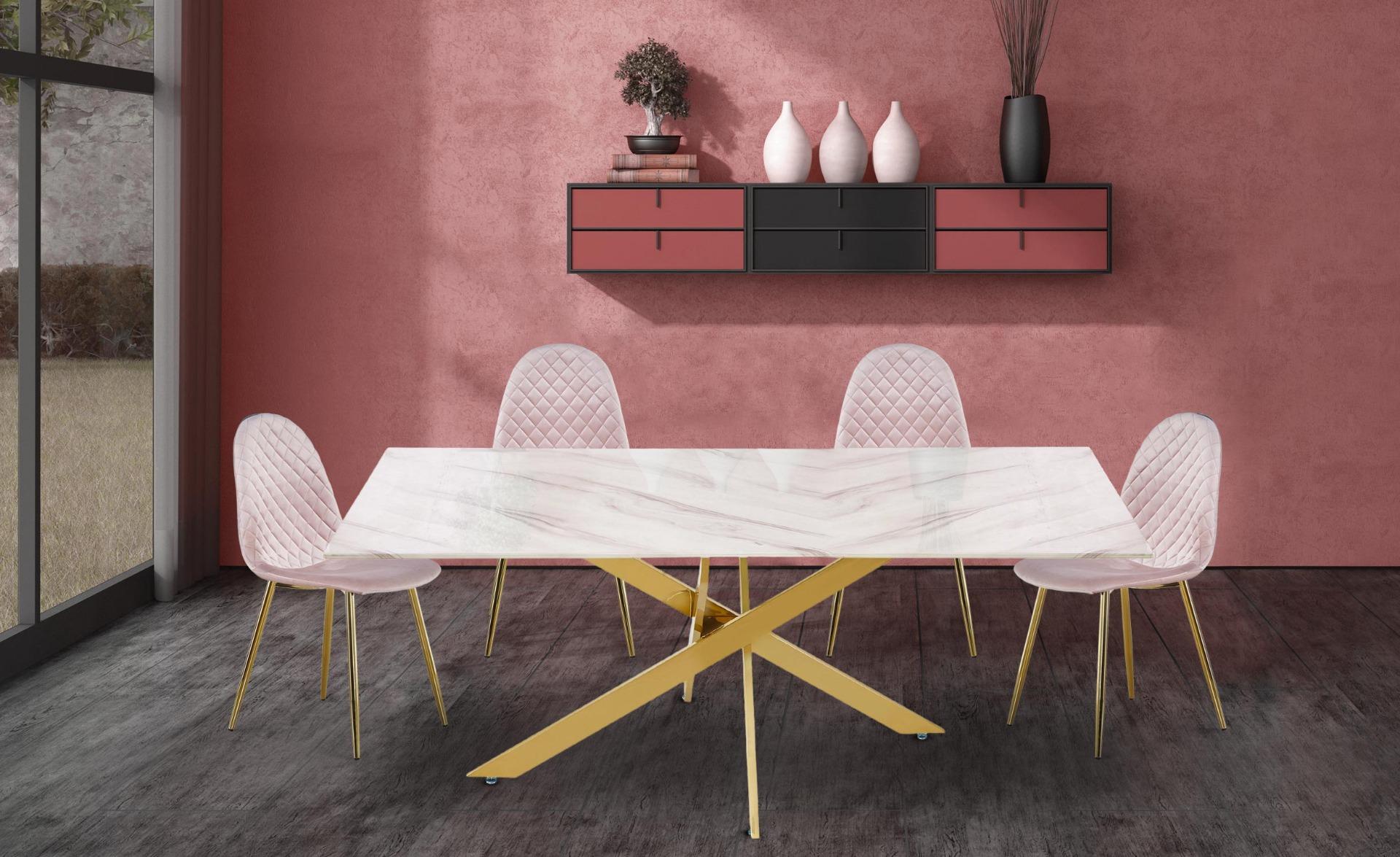 Tavolo da pranzo Naelle Vetro effetto Marmo Bianco Gambe Oro