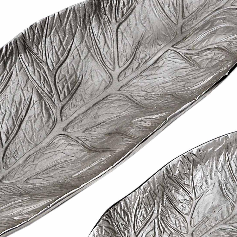 Set di 3 vassoi Natura a forma di foglia in nichel
