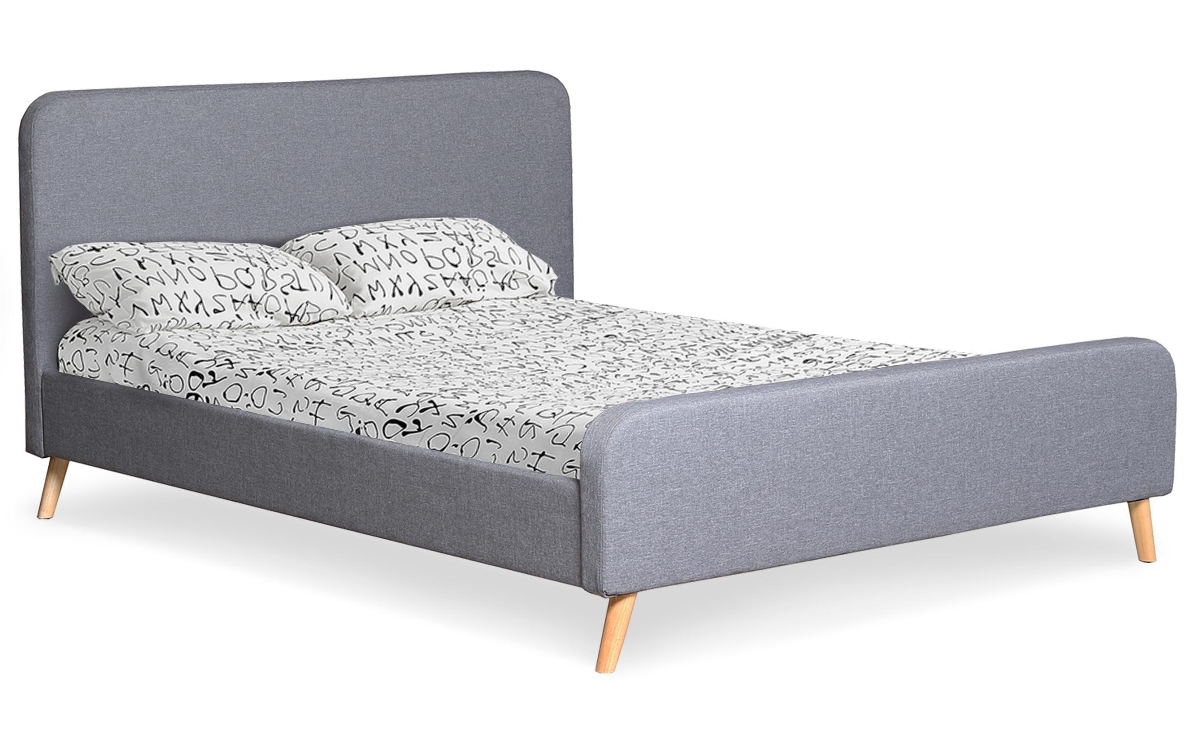 Lit scandinave avec tête de lit et sommier 160 x 200cm Nebula Tissu Gris