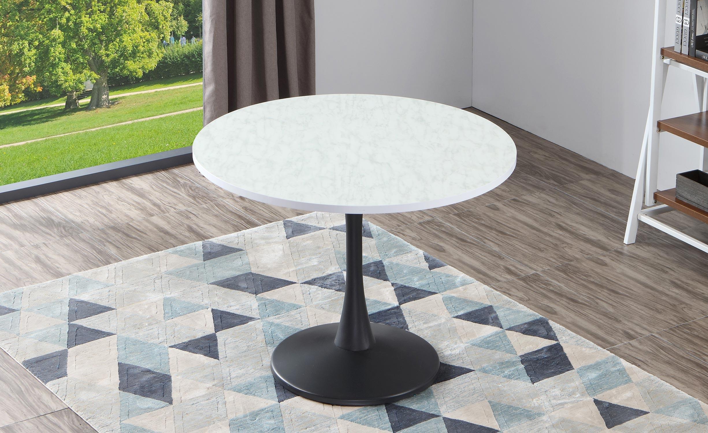 Tavolo rotondo Necy nero ad effetto marmo