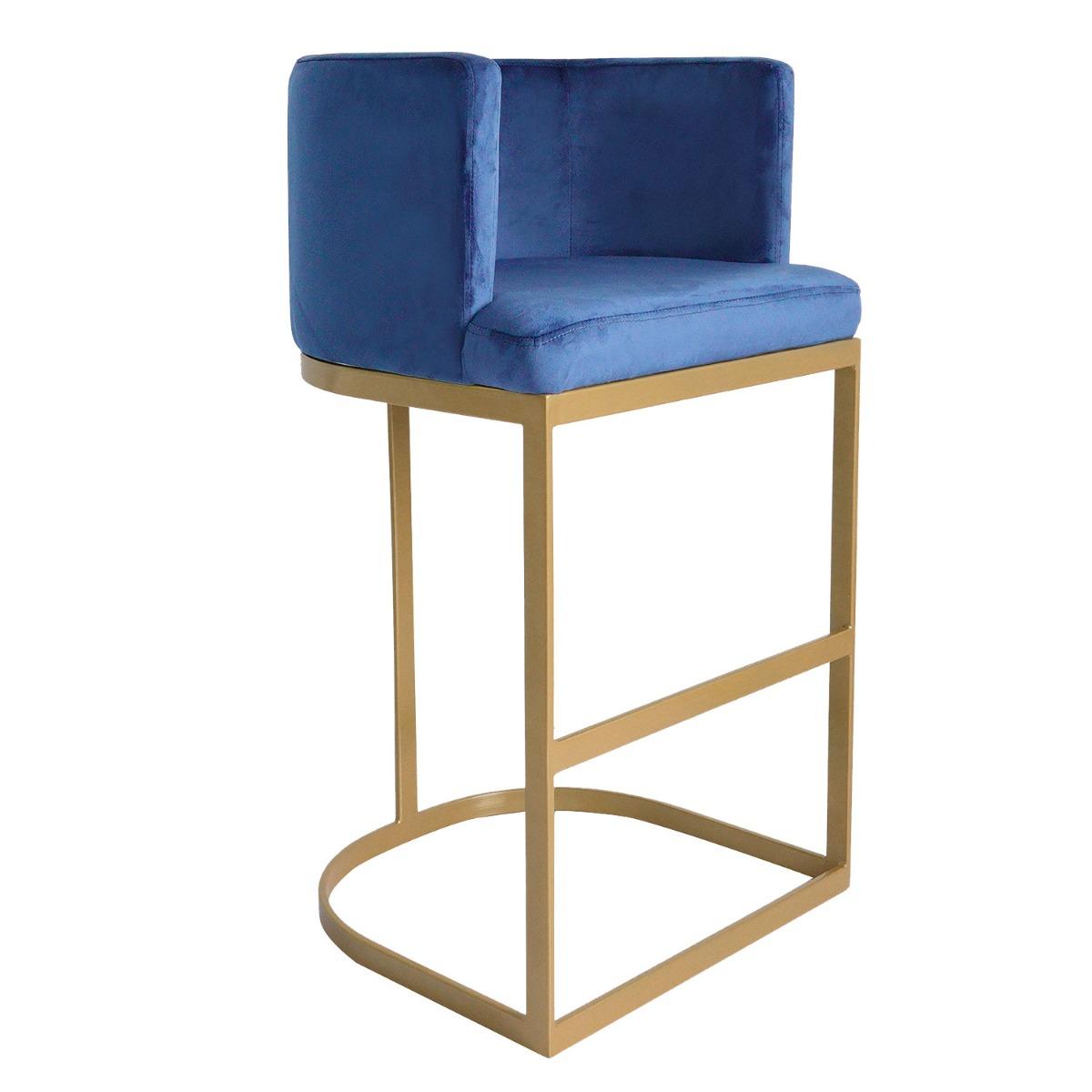 Chaise de bar Noellie Velours Bleu Pieds Or