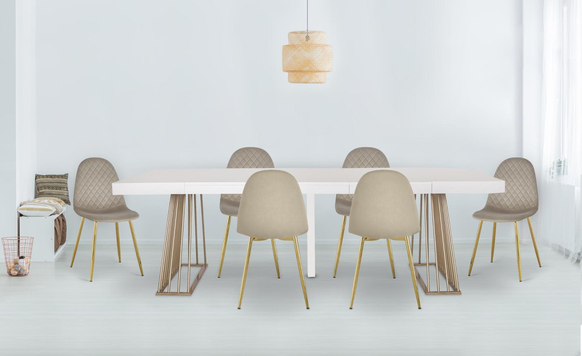 Set di 4 sedie trapuntate Norway Velluto Talpa