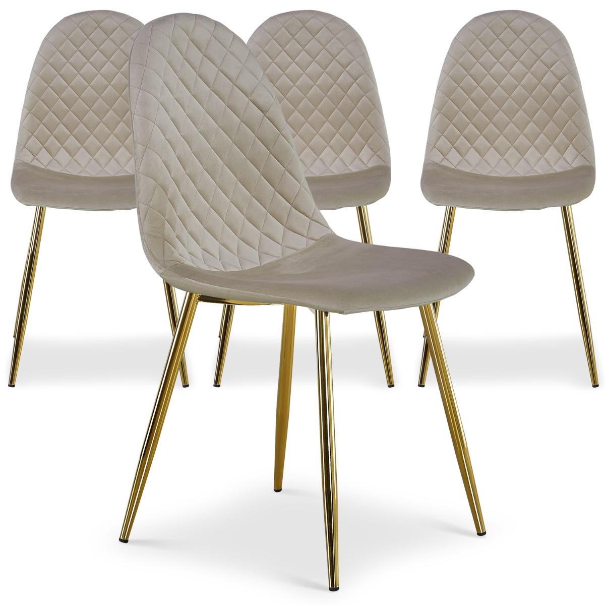 Lot de 4 chaises matelassées Norway Velours Taupe