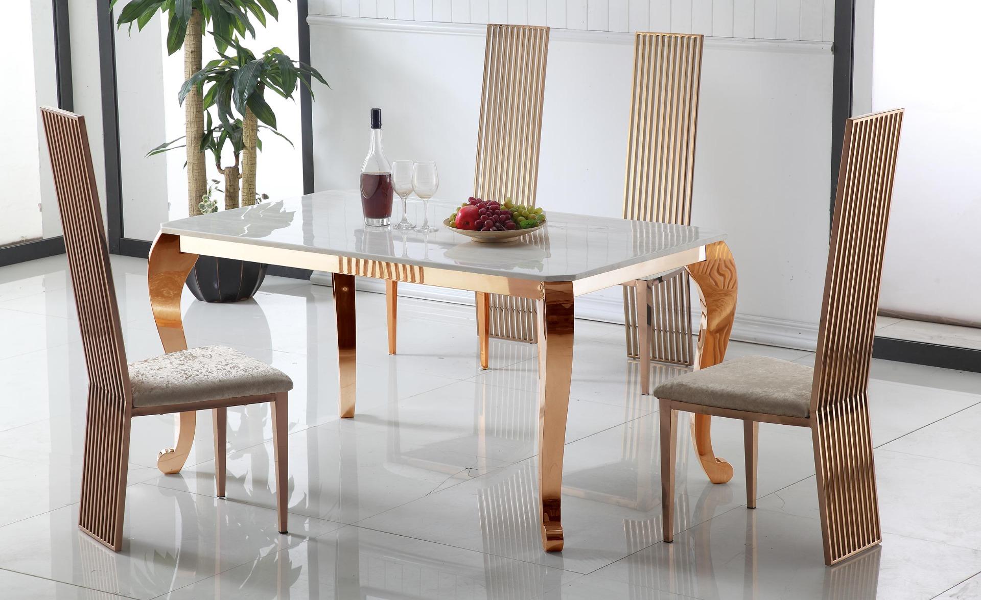 Tavolo da pranzo Padma in marmo e gambe in oro rosa