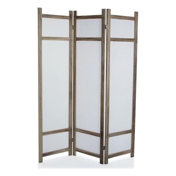 Paravent 3 panneaux Marisol 40x170cm Bois et Tissu Blanc