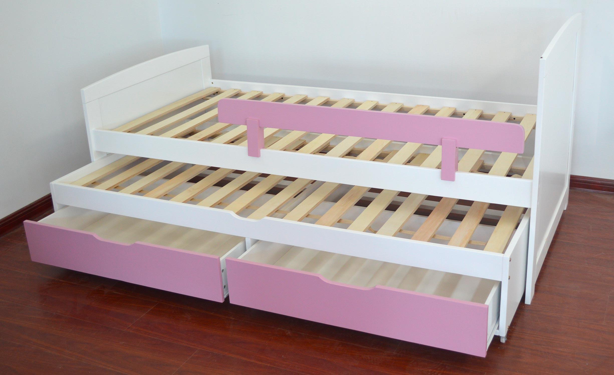 Letto estraibile bambino con reti e cassetti Patapon bianco e rosa