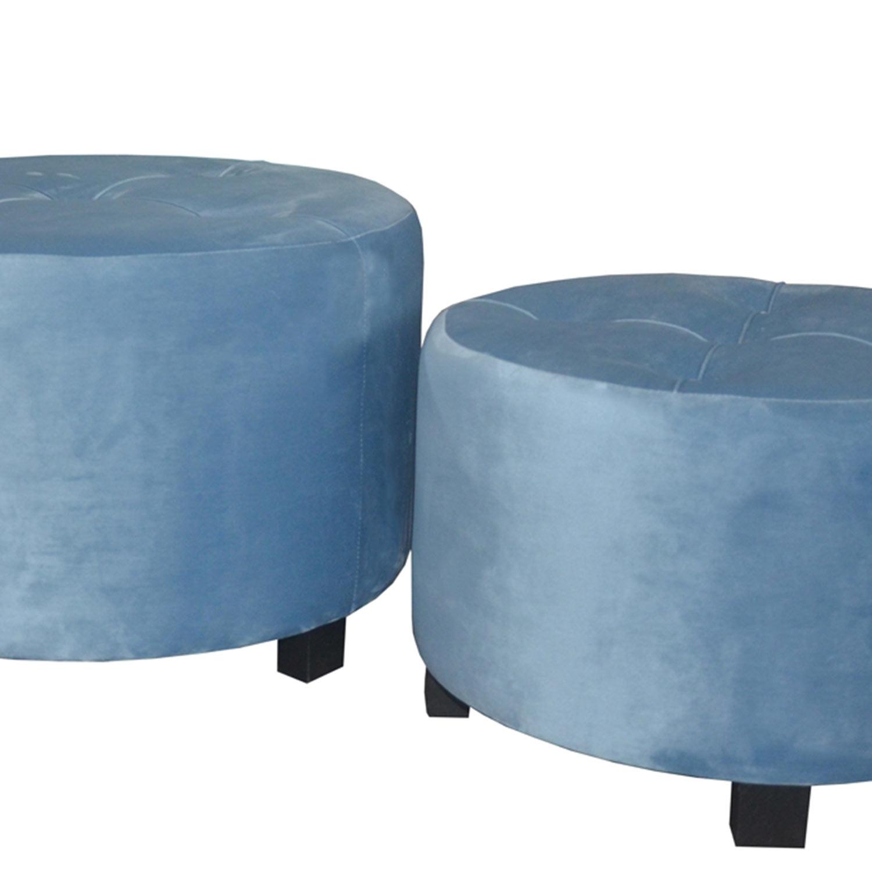 Set di 3 pouf Rondeo in velluto blu