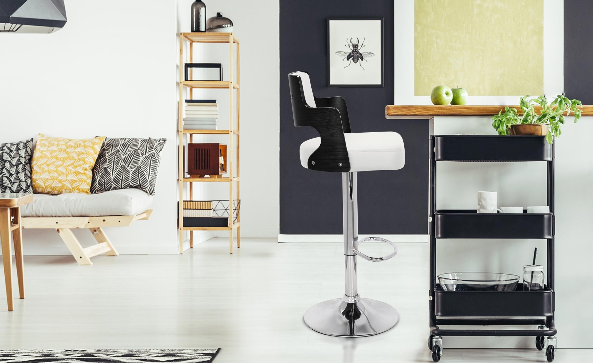 Set di 2 sedie da bar Russel in legno nero e Similpelle bianco