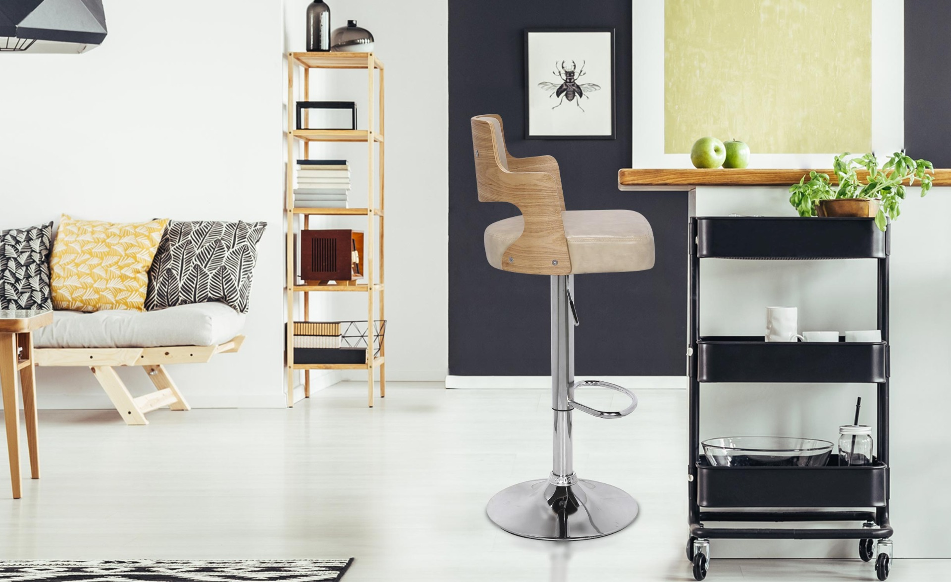 Set di 2 sedie da bar Russel in rovere chiaro e color crema