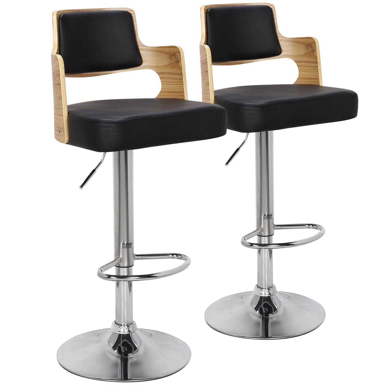 Lot de 2 chaises de bar Russel Chêne Clair & Noir