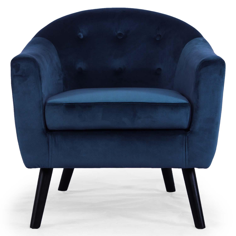 Poltrona scandinava Savoy in velluto blu
