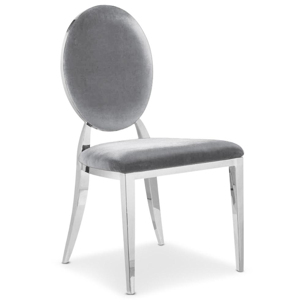 Set di 4 sedie in velluto Sofia Silver