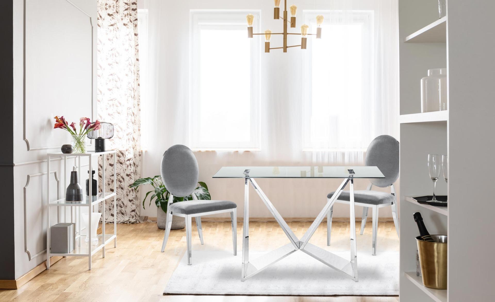 Set di 2 sedie medaglione Sofia in velluto argento