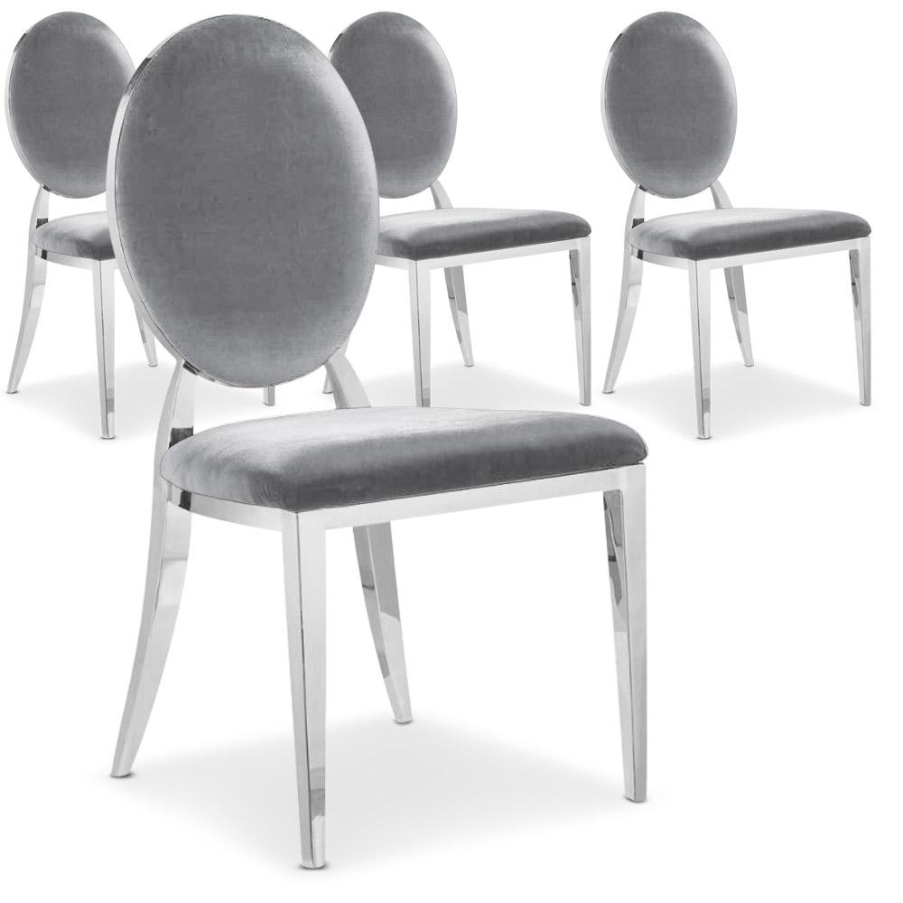 La chaise Sofia velours argent, avec son dossier oval rembourré et ses pieds en métal brillant