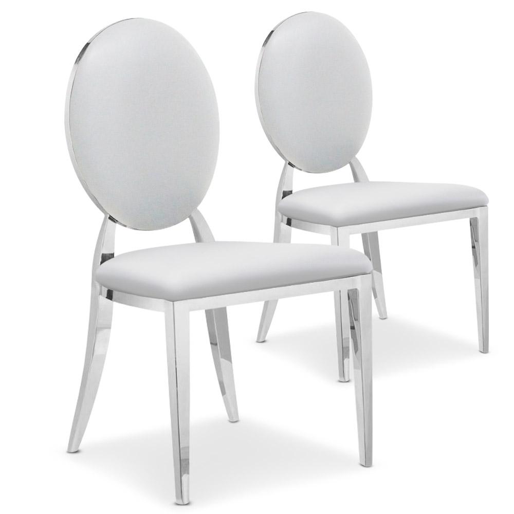 Lot de 2 chaises médaillon Sofia Simili Blanc