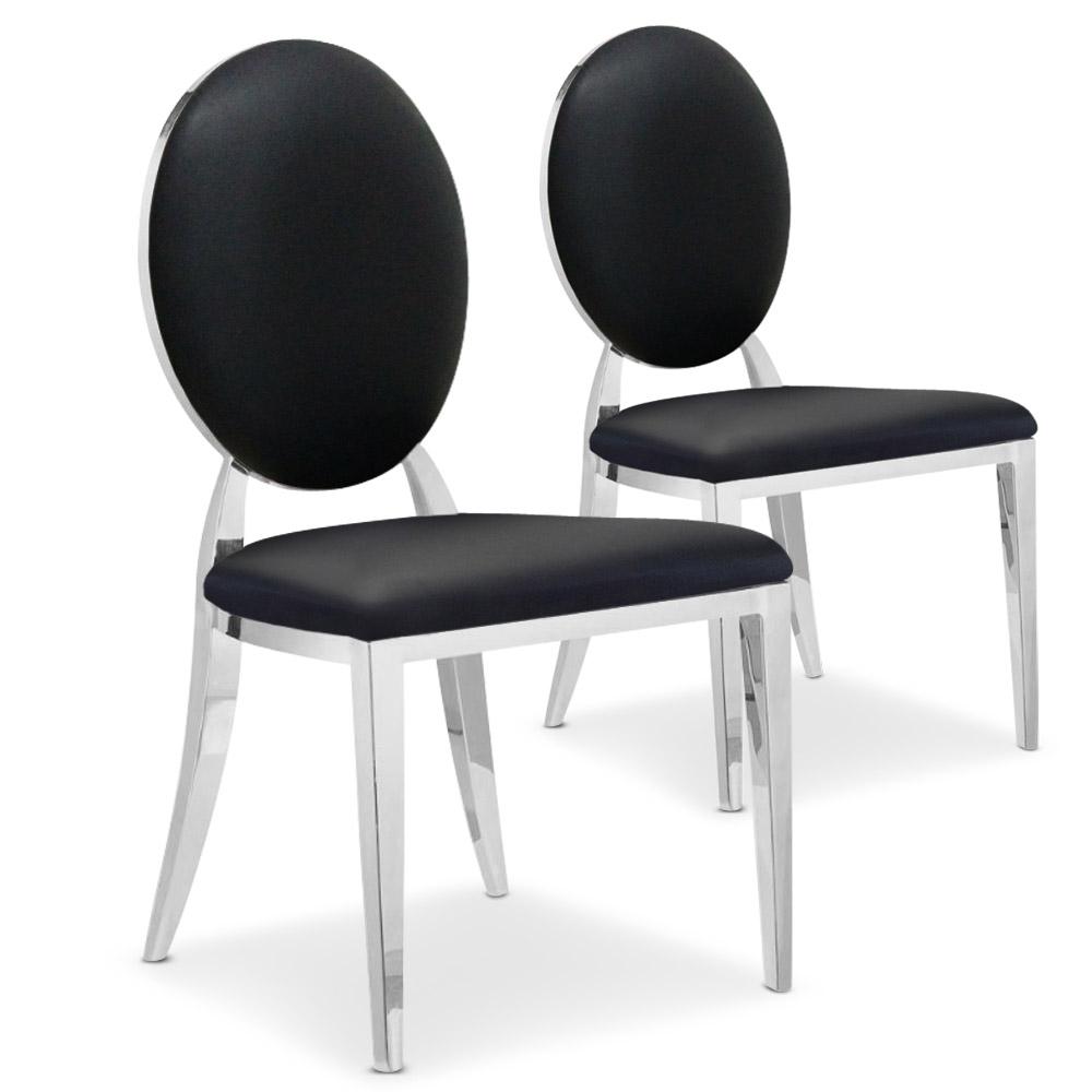Lot de 2 chaises Sofia Simili Noir